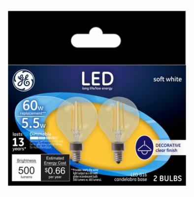 G E Lighting 45710 LED, 2PK, 5.5 Watt, G16, Clear, Daylight, Cand. Base