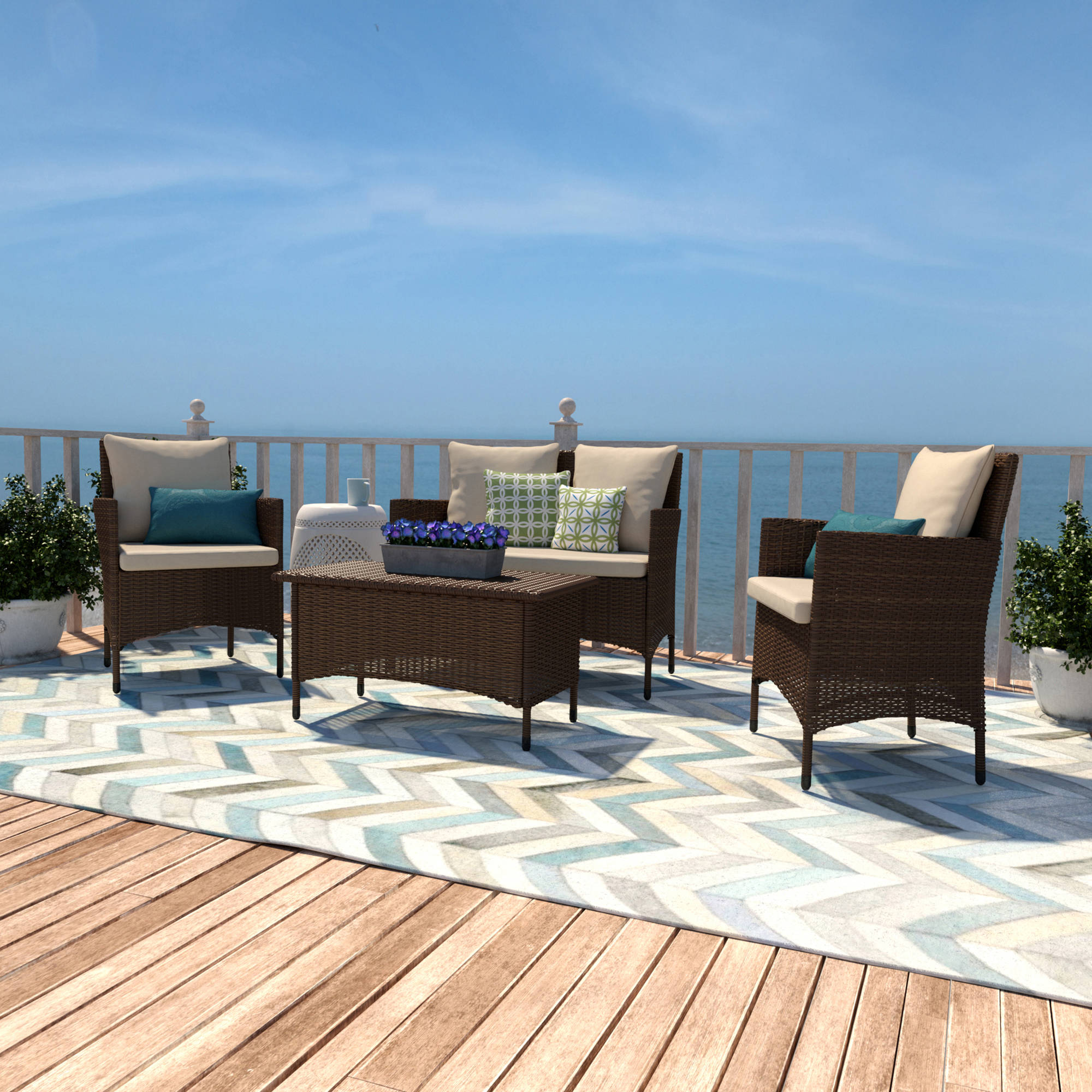 Aruba 4 Piece Wicker Indoor Outdoor Living Room Set