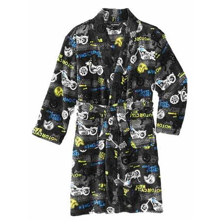 be9535d66 Joe Boxer Boys Plush Blue Pixel Skull Bath Robe Fleece House Coat ...