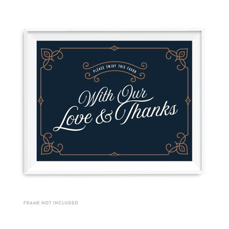 Navy Blue Art Deco Vintage Party Signs, Please Enjoy This Favor With Our Love and Thanks, 8.5x11-inch