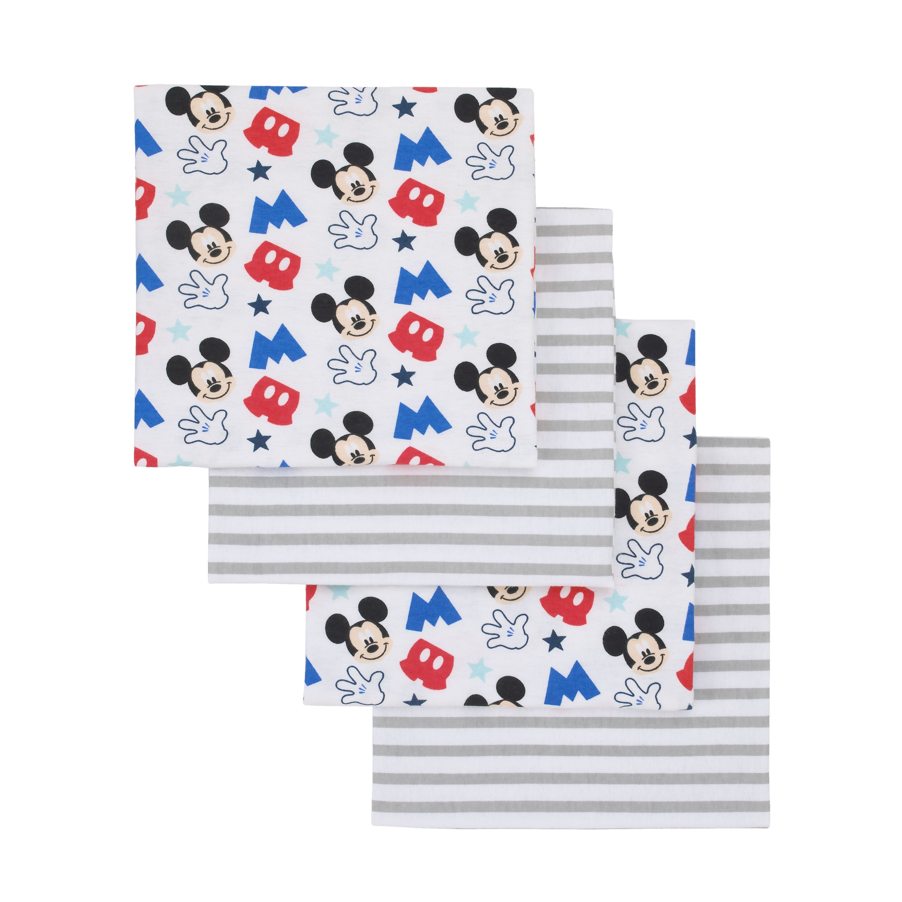 Disney Mickey Mouse Grey, Blue, Red 4 Pack Flannel Receiving Blankets