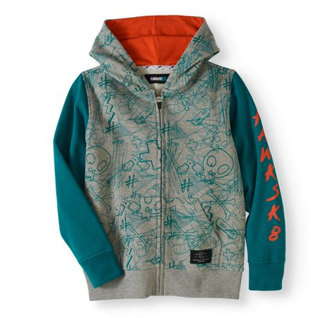 Tony Hawk Fleece All Over Print Full Zip Up Hoodie (Big - Boys Over Flowers Usa