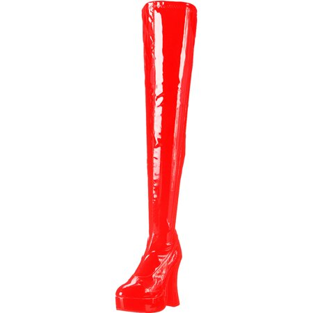 Womens Sexy Red Patent Thigh Boot 5 Inch Chunky Heel Stretch Boots Mid Platform - 5 Inch Thigh High Boots