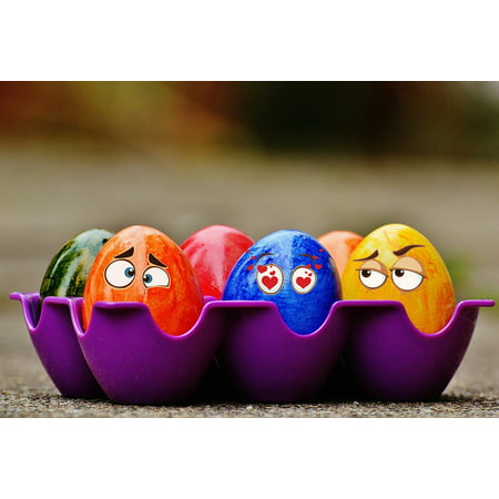 LAMINATED POSTER Eyes Easter Eggs Colorful Easter Funny Poster Print 11 x