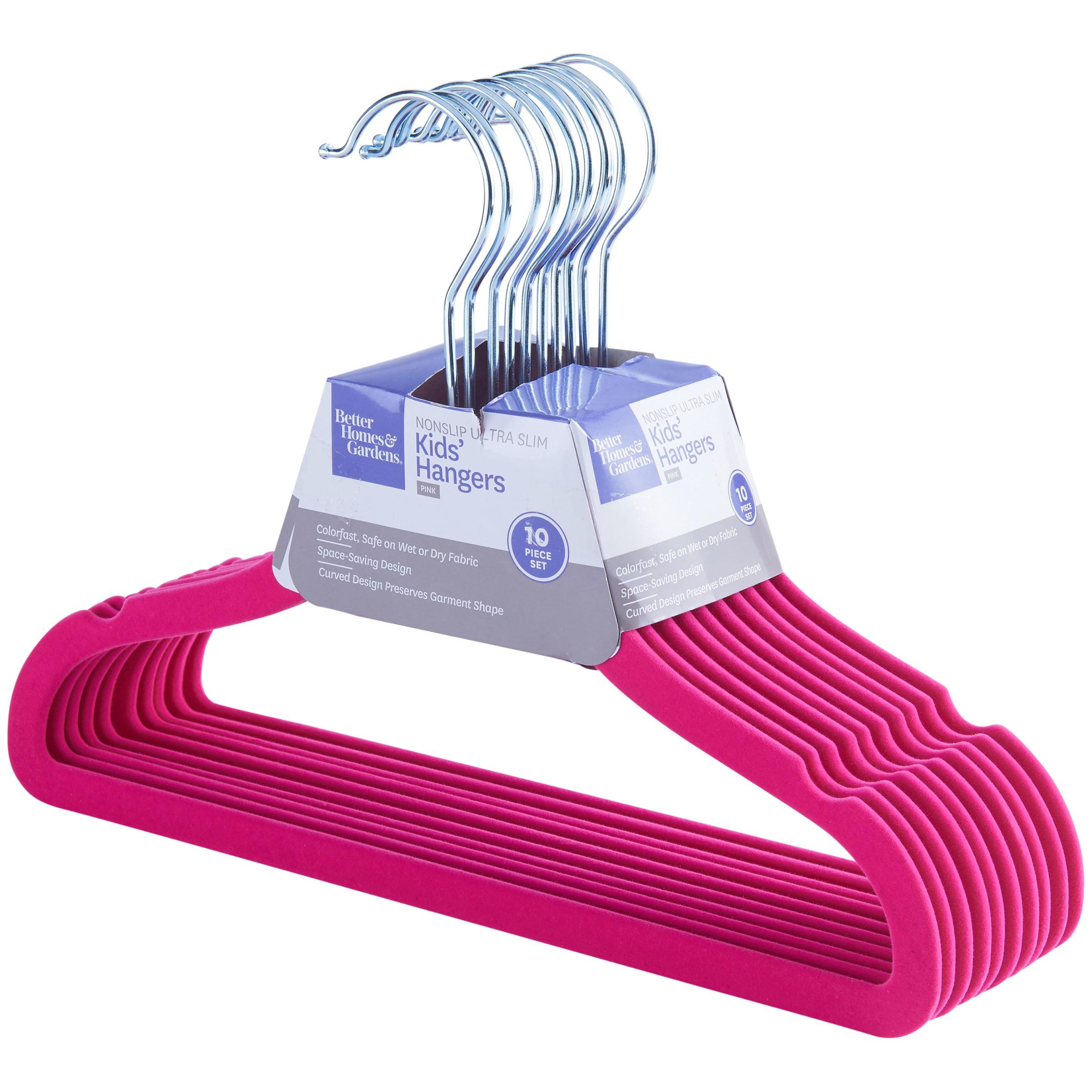 Better Homes & Gardens Nonslip Ultra Slim Kids' Hangers, 10 Pack, Pink