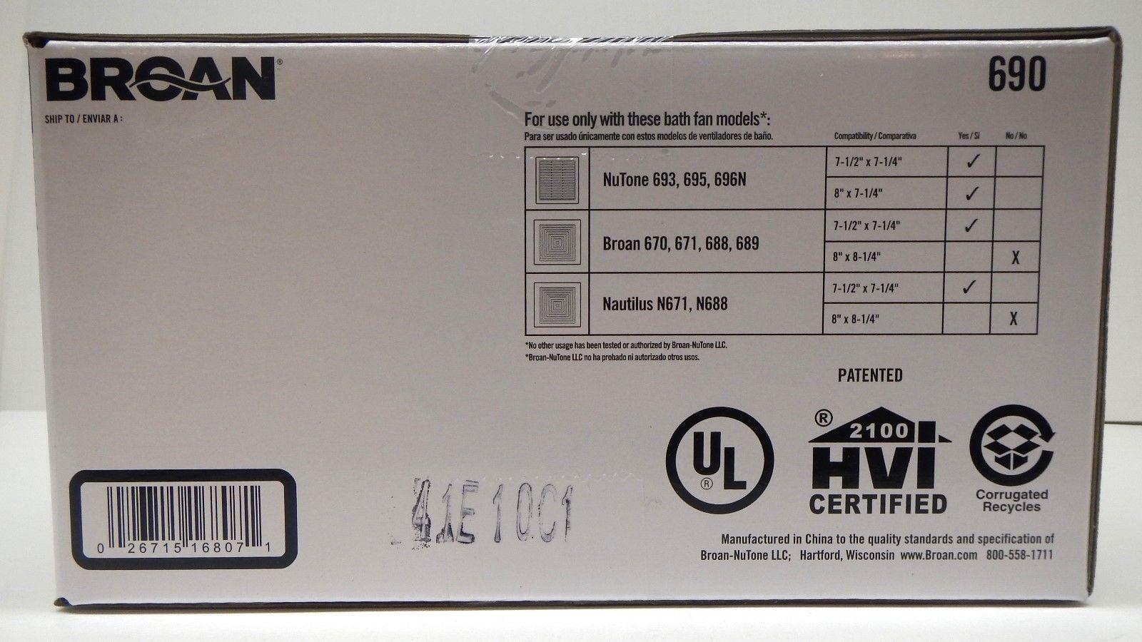 nutone broan nautilus bath fan upgrade kit 690nt for 693 695 696 670 671 688 689 walmartcom