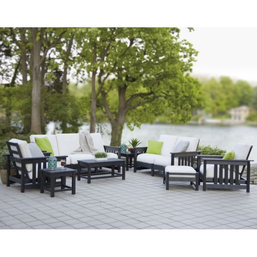 POLYWOOD® Mission Deep Seating Group - Seats 8 - Black / Birds Eye