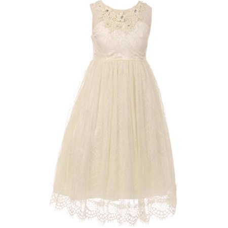 cfbd4e4f52b9a Big Girl Lace Flower Girl Dress Decorated 3D Flower Neckline Ivory 10 CC  5036