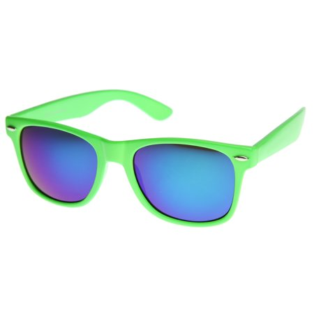 zeroUV - Retro Bright Horn Rimmed Sunglasses with Colorful Mirrored Lenses - UV400 - 52mm Bright and flashy color version of the timeless classic horn rimmed that features vibrant reflective color lenses. Made with an plastic based frame, metal hinges and color mirror polycarbonate UV protected lenses.