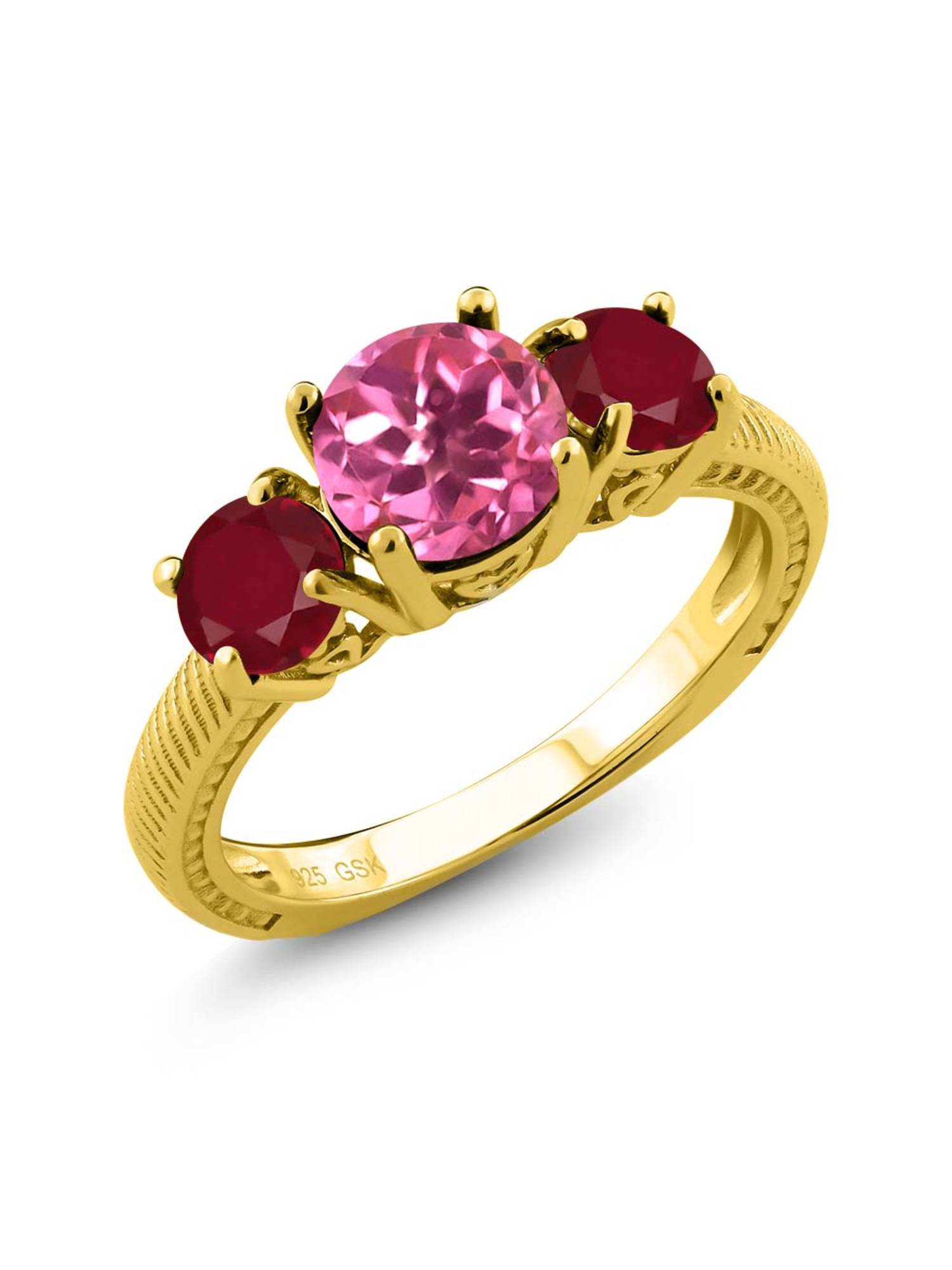 2.40 Ct Round Pink Mystic Topaz Red Ruby 18K Yellow Gold Plated Silver 3 Stone Ring by