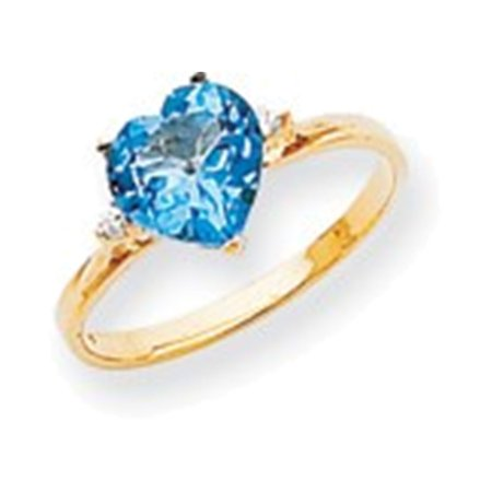 14k 7mm Heart Blue Topaz AAA Diamond ring Diamond quality AAA (SI2 clarity, G-I color)