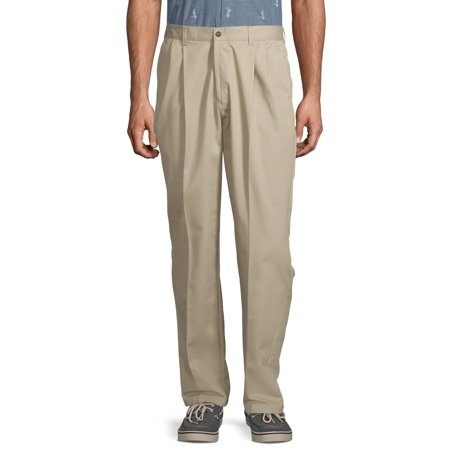 George Big Men's Pleated 100% Cotton Twill Pant with Scotchgard Twill Double Pleat Pants