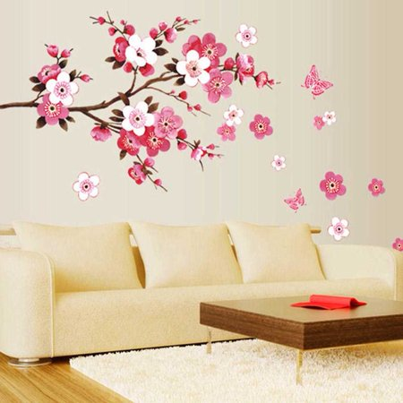 Fancyleo Stylish  Room Decoration Large Peach Blossom Flower Butterfly Wall Stickers Decal Home