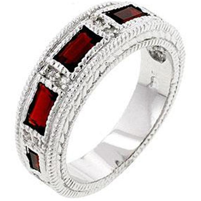Kate Bissett R07630R-C10-05 Genuine Rhodium Plated Garnet Eternity Band with 5 Emerald Cut CZ Bezel Set in Silvertone