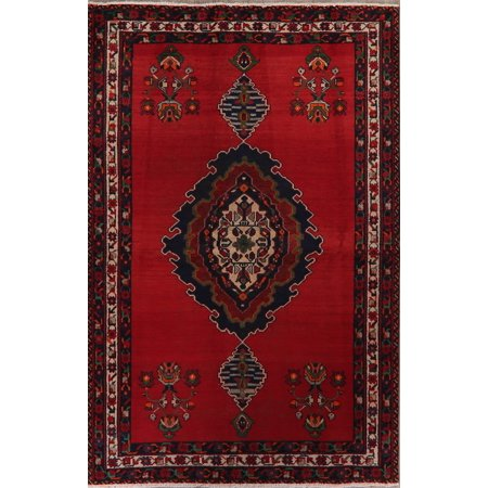 BLACK FRIDAY DEAL 4x7 Vintage Geometric Bakhtiari Oriental Hand-Knotted Red Wool Area Rug
