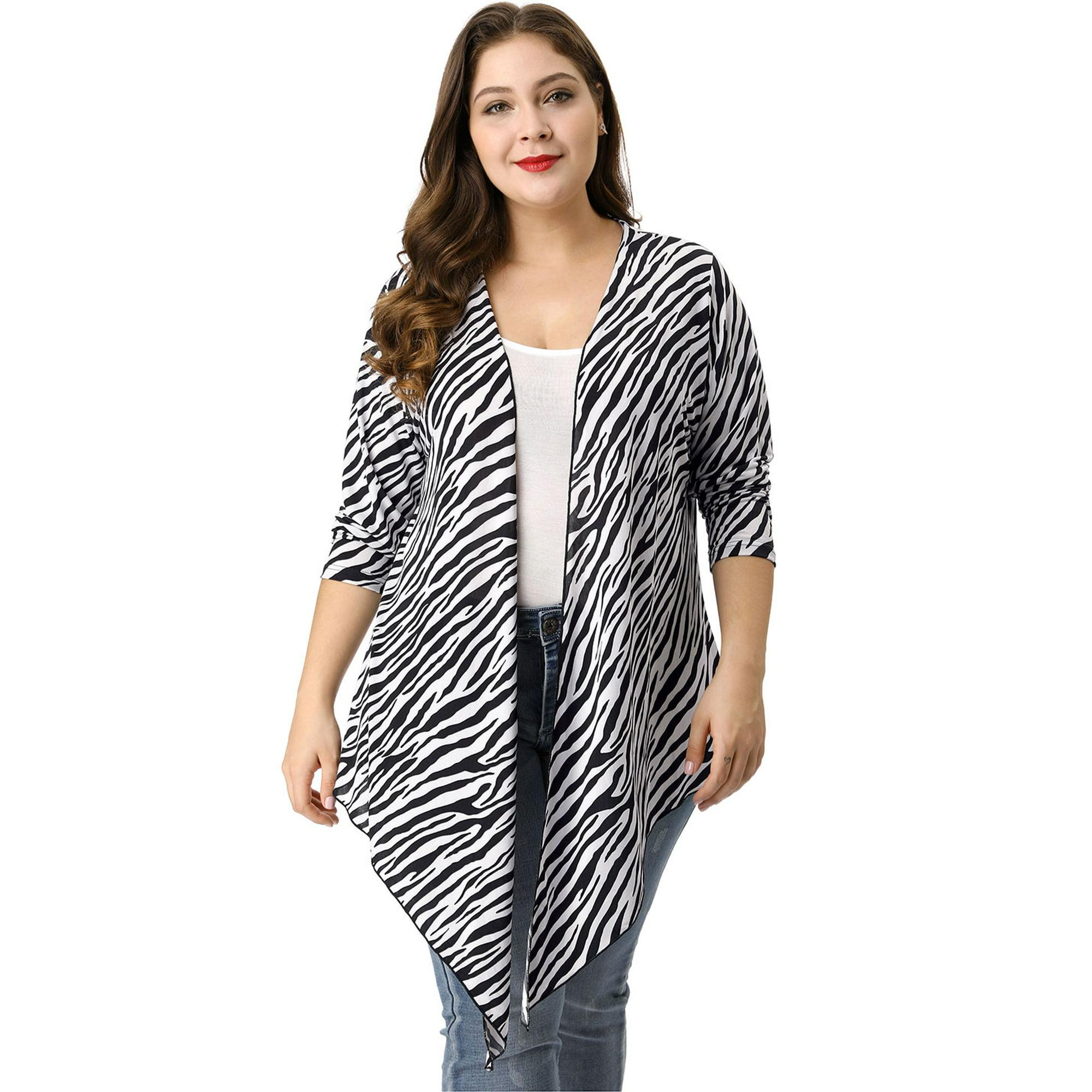3850343d5 Unique Bargains Women s Plus Size Zebra Prints Casual Drape Cardigan ...