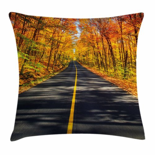 Ambesonne Fall Decor Rural Road Country Square Pillow Cover by Kozmos