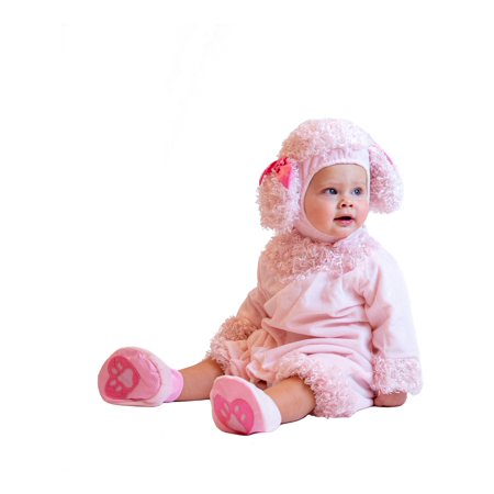 Cuddly Jungle Pink Poodle Infant Halloween Costume ? Head to Toe Outfit with Romper, Headpiece, and Booties - 6-12 Months - Pink