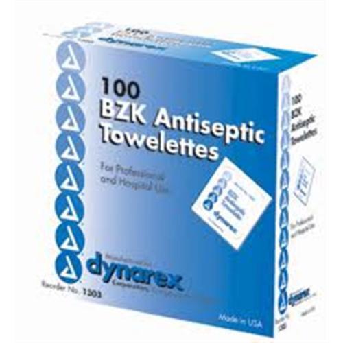 Dynarex BZK Antiseptic Towelettes  100 ea (Pack of 4)