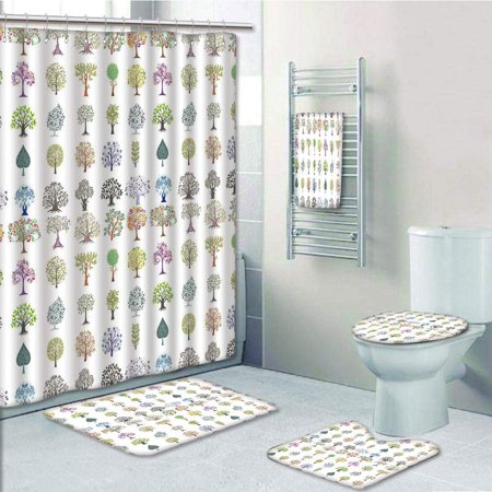 PRTAU Nature Different Type of Trees with Various Leaf Forms Mother Earth Season Inspirations Eco 5 Piece Bathroom Set Shower Curtain Bath Towel Bath Rug Contour Mat and Toilet Lid Cover