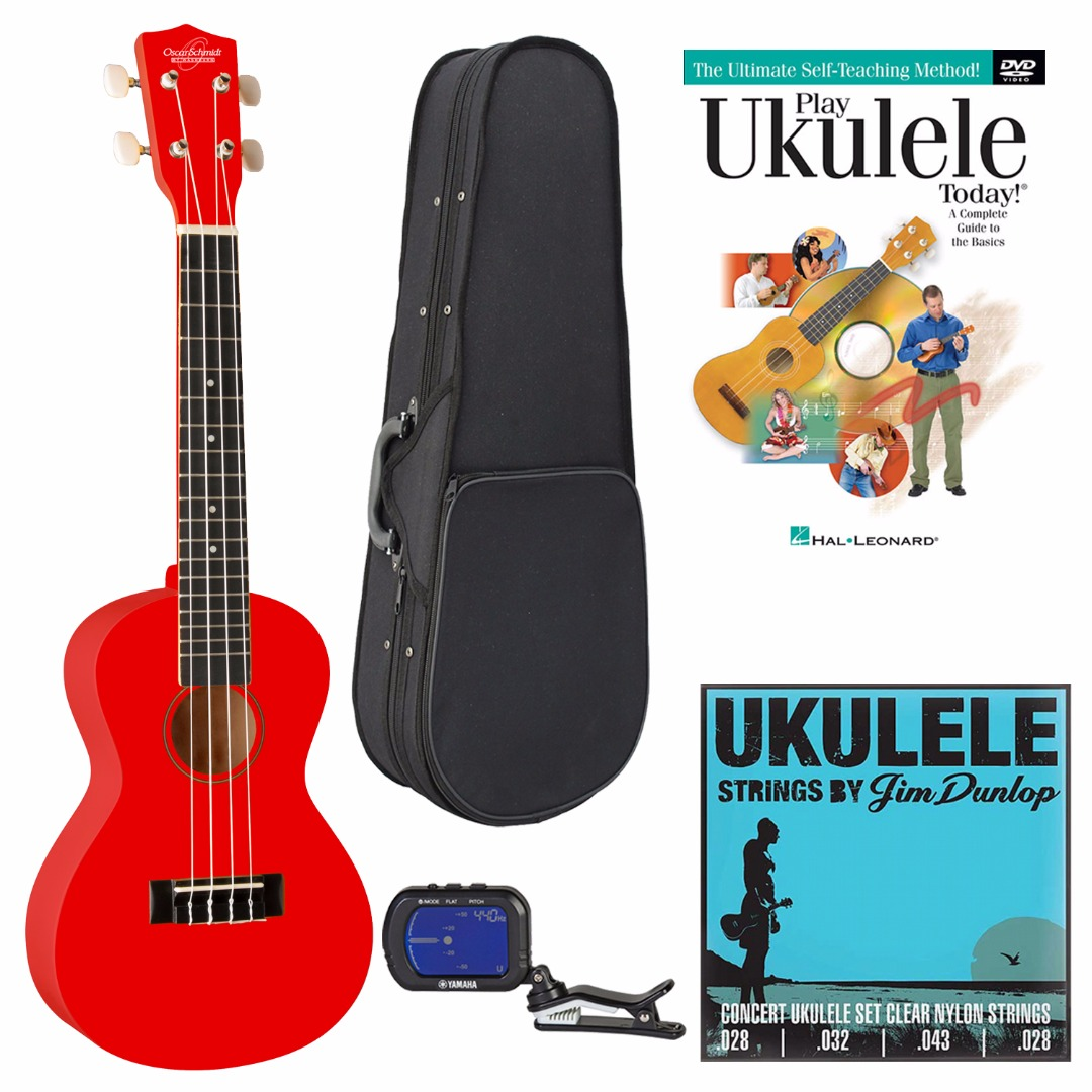 Oscar Schmidt Model OU1CB Concert Size Ukulele (Red) w/ Knox Ukulele Case & Clip-On Chromatic Tuner Bundle