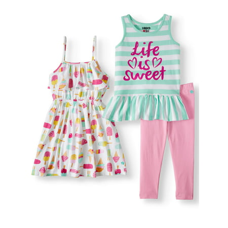 Limited Too Printed Tank Top, Sleeveless Dress & Leggings, 3pc Outfit Set (Baby Girls & Toddler Girls)