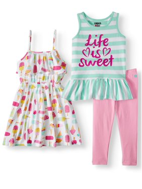 0fbe1d12aacbf Product Image Limited Too Printed Tank Top, Sleeveless Dress & Leggings,  3pc Outfit Set (Baby