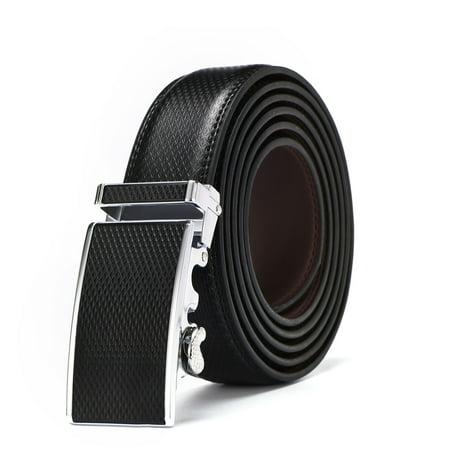 Men's Genuine Leather Ratchet Belt Automatic Buckle Belt 3.5cm Brown Strap Jeans Brown Leather Strap