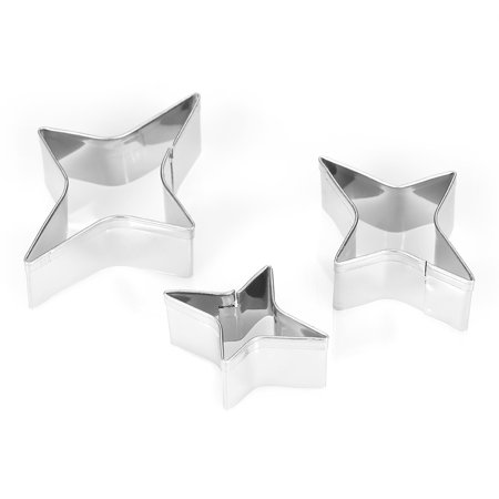 - 3pcs 4-Point Star Cookie Cutters Stainless Steel Fondant Cutter Biscuit Cutters Sandwich Cutters Cookie Cutter Set