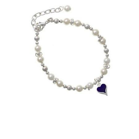 Silvertone Small Long Purple Heart Imitation Pearl Beaded Bracelet Small Pearl Bracelet