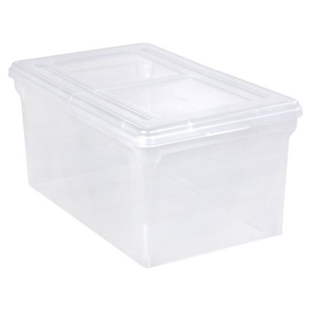 IRIS Letter Size Split-Lid File Storage Box, Clear