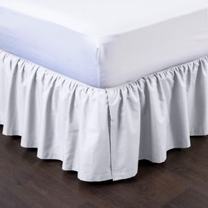 Queen White Pleated Dust Ruffled Bedskirt Bedding Bed Dressing with Split Open Corners and... by