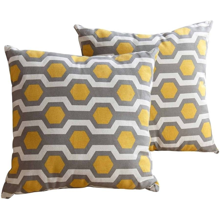 "Click here to buy Devon and Claire Presta Pillow Collection 18"" Throw Pillows, Yellow Pattern, Set of 2."