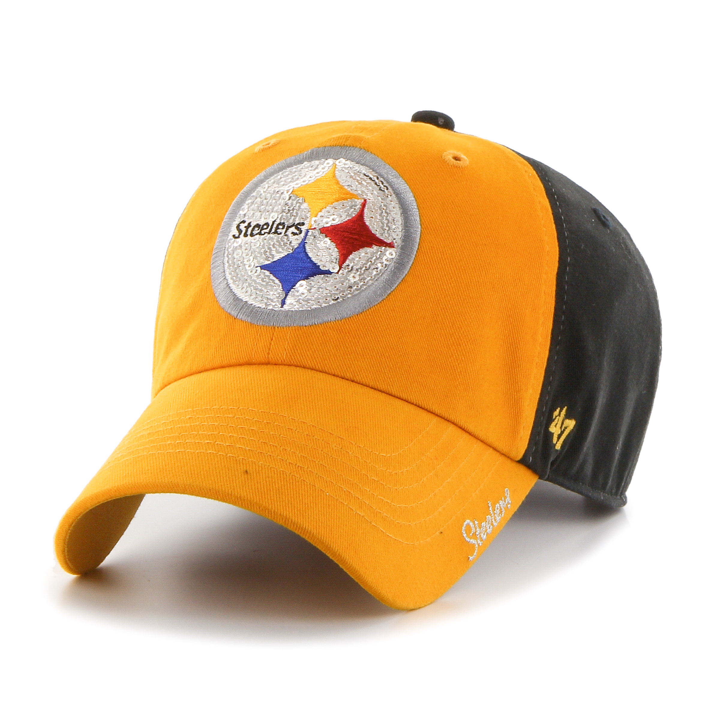 Pittsburgh Steelers Black Sparkle Two Tone Women's Hat by 47 Brand