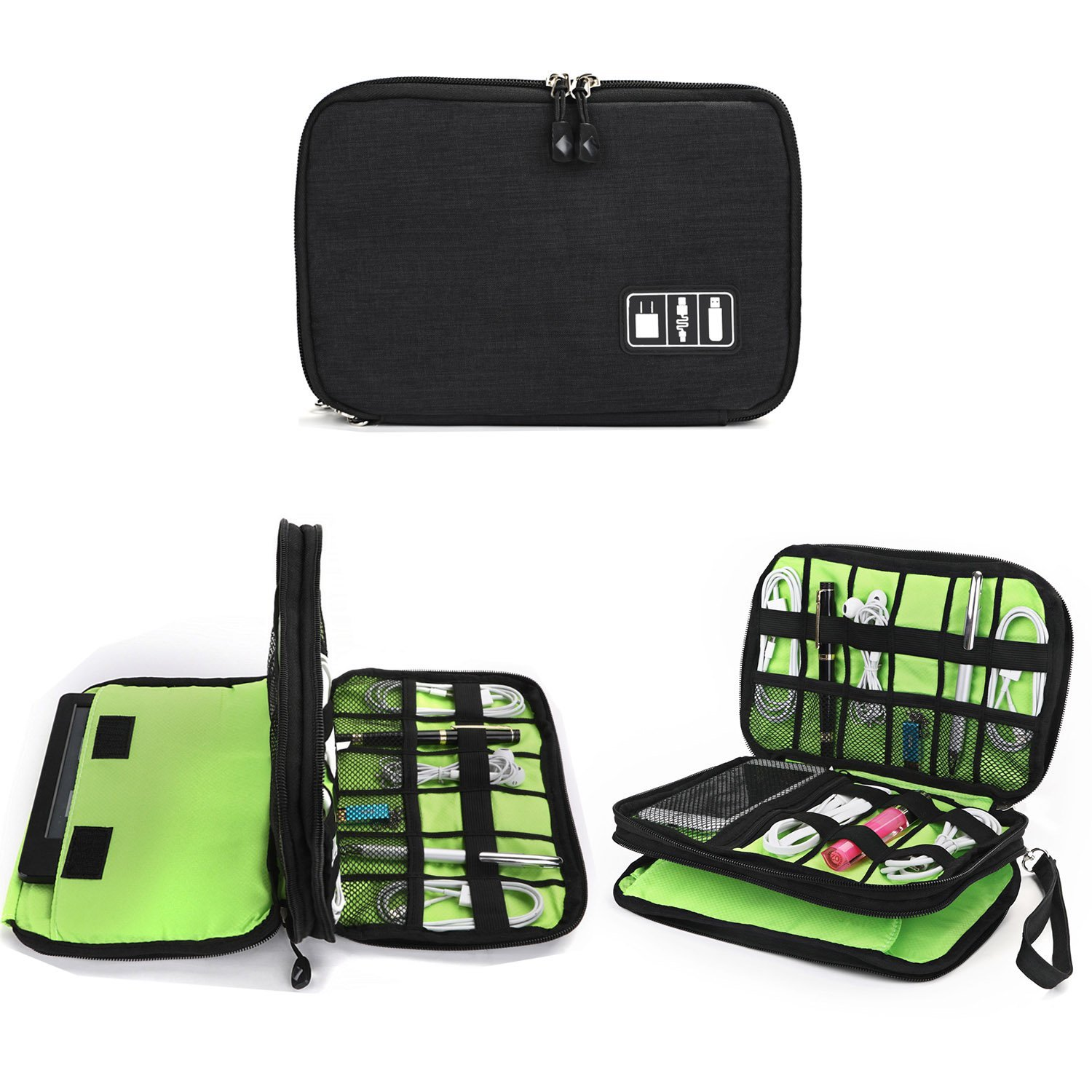 Cable Organizer Bag, Jelly Comb Electronic Accessories Double Layer Travel Organizer Bag Waterproof USB Cable Storage Bag for Charging Cable, Cellphone, iPad (Up to 7.9) and More-(Black and Green)
