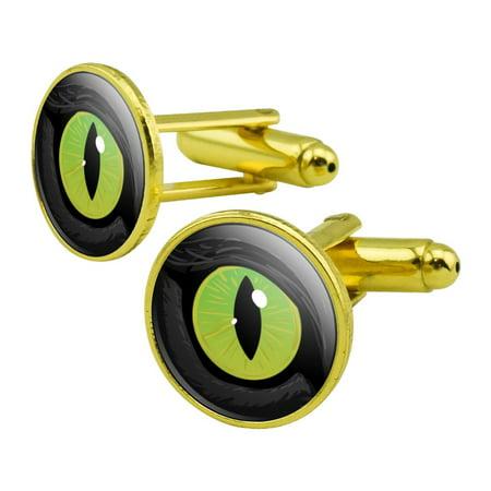 Cat Green Eye Round Cufflink Set Gold Color