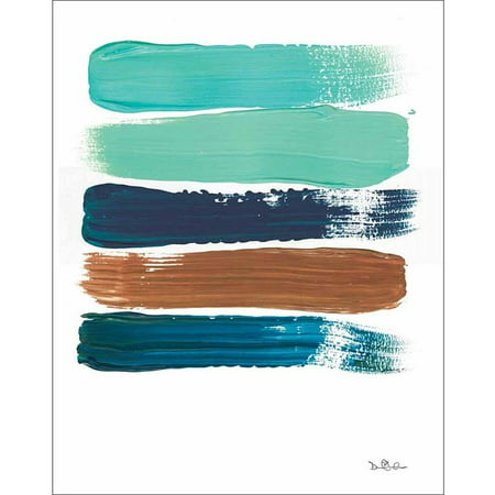 Original Contemporary Abstract Painting - Paint Swatch Line Texture Contemporary Modern Trendy Abstract Painting Brown & Blue Canvas Art by Pied Piper Creative