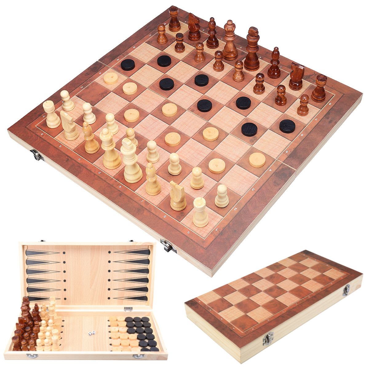 3 in1 Folding Wooden Chess Set Board Game Checkers Backgammon Draughts Xmas Gift On Sale by