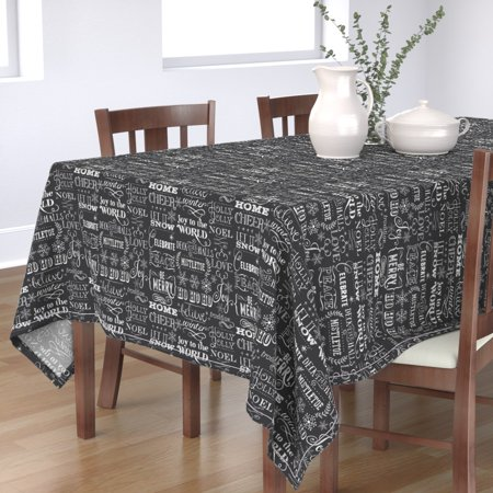 Tablecloth Winter Words Black And White Text Christmas Chalkboard Cotton Sateen ()
