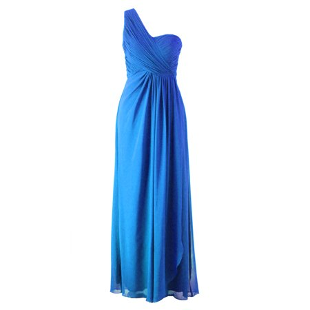 Faship Womens Elegant One Shoulder Pleated Long Formal