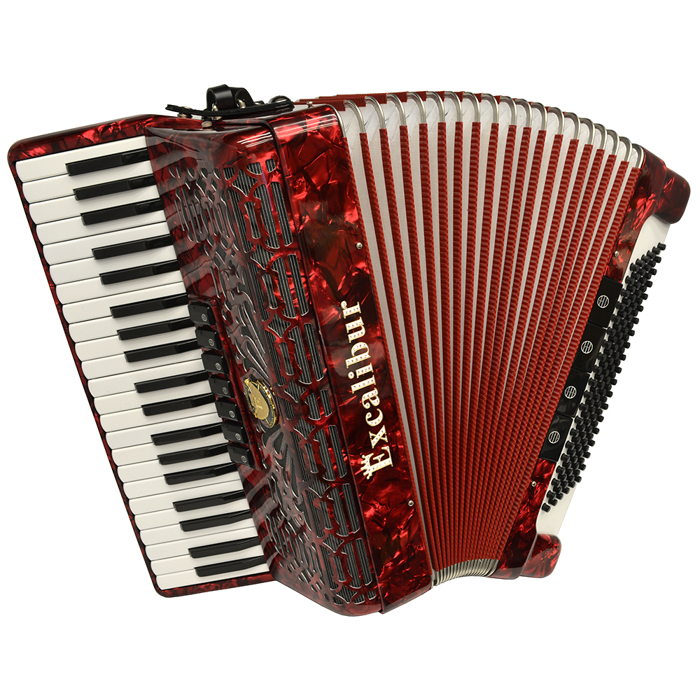 Excalibur Crown Series 120 Bass Accordion Pearl Red by