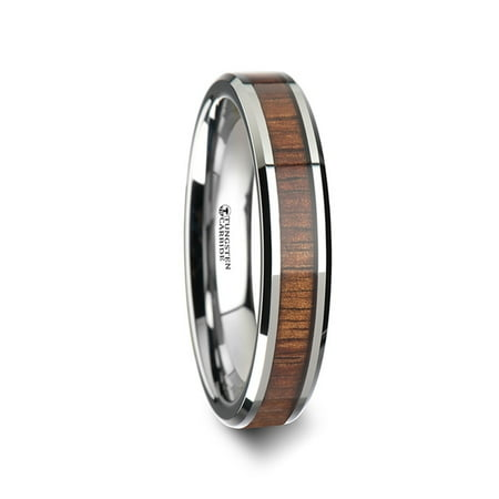 Kona Koa Wood Inlaid Tungsten Carbide Ring With Bevels 4mm