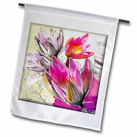 3dRose Pink Lotus - Garden Flag, 12 by 18-inch