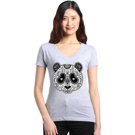 Shop4Ever Women's Skull Panda Day of the Dead Slim Fit V-Neck T-Shirt (Panda Suits For Sale)
