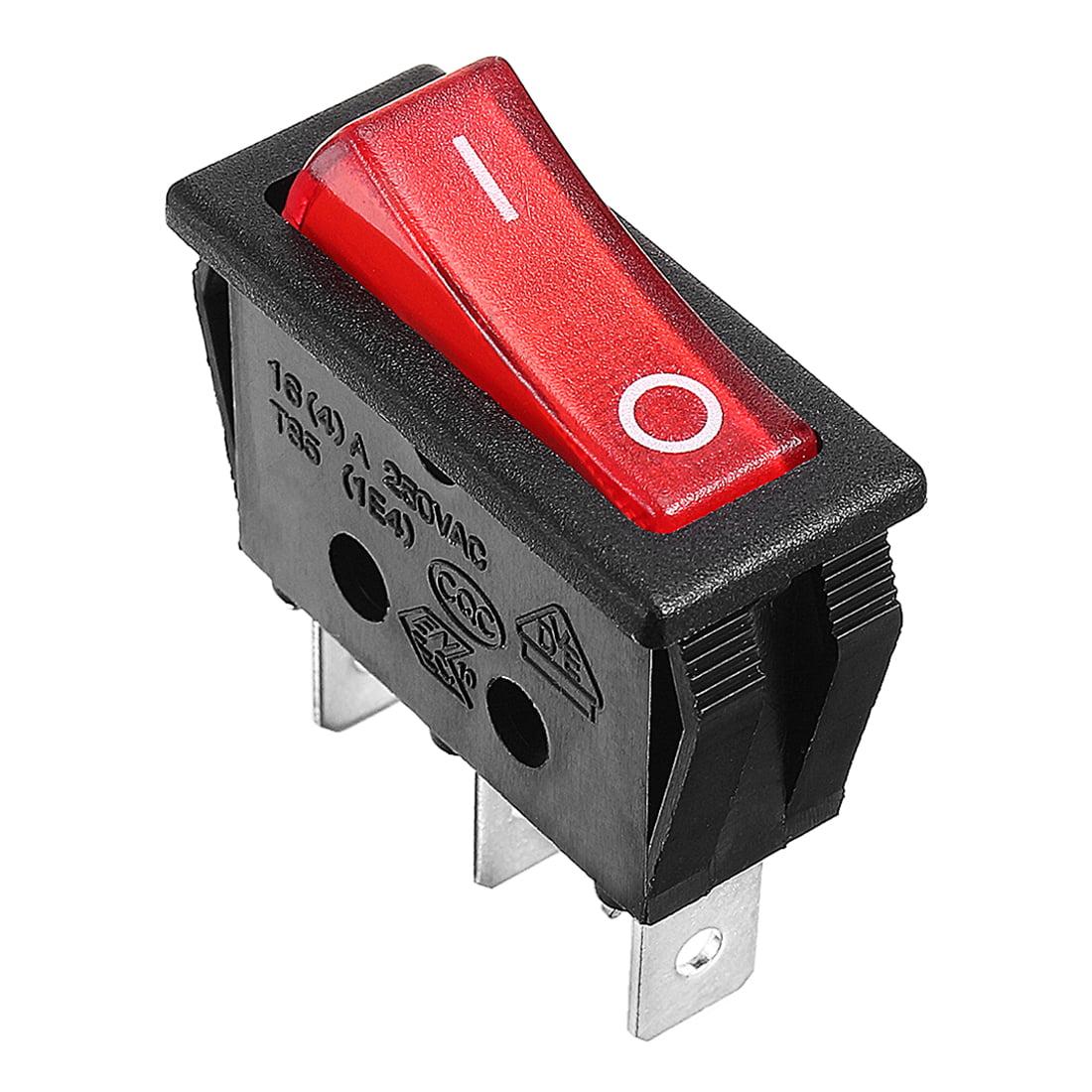 3 Pcs Red Press Button SPST 3 Terminals Boat Rocker Switch 16A 250VAC - image 4 de 7