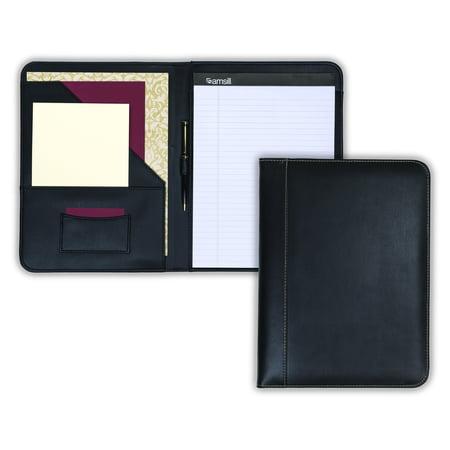 samsill contrast stitch leather padfolio lightweight stylish business portfolio for men women resume portfolio 85 x 11 writing pad