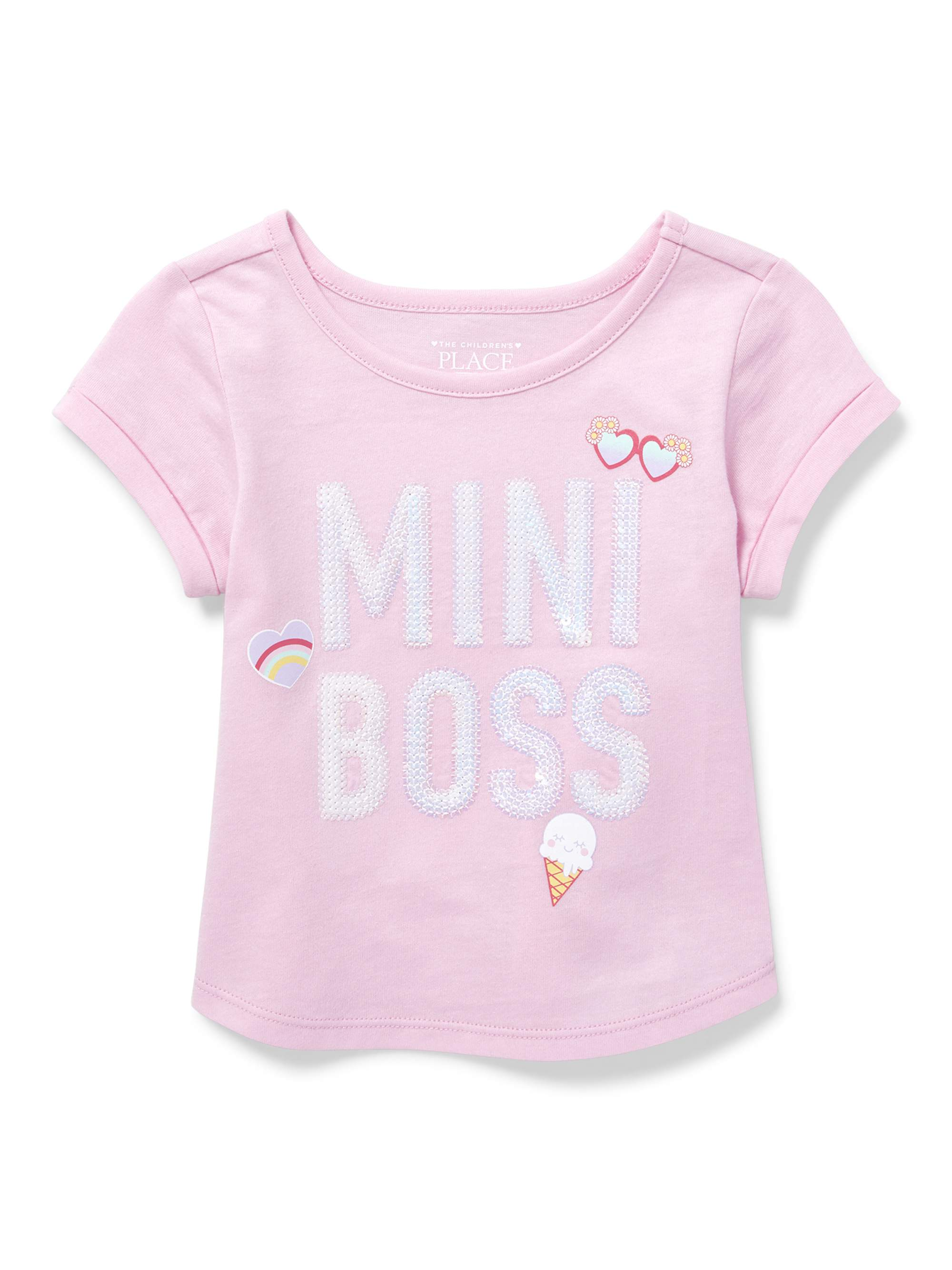 Short Rolled Sleeve Graphic Top (Baby Girls & Toddler Girls)
