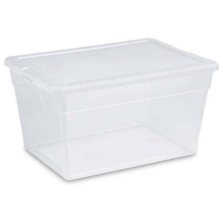 8) Sterilite 16598008 Lidded 56 Quart Clear Bin Home Storage Box Totes Container](Clear Storage Totes)