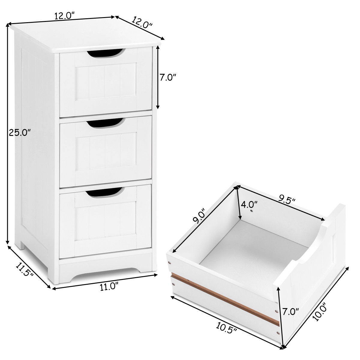 White Floor Storage Cabinet Bathroom Organizer Free ...
