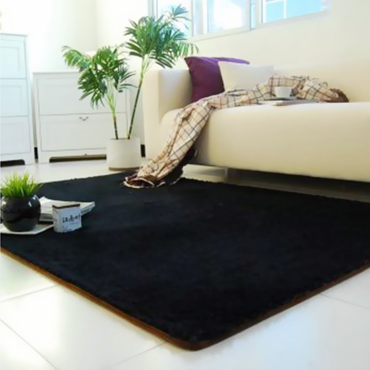 Modern Soft Fluffy Floor Rug Anti Skid Shag Shaggy Area Bedroom Dining Room Carpet Yoga Mat Winter Child Play